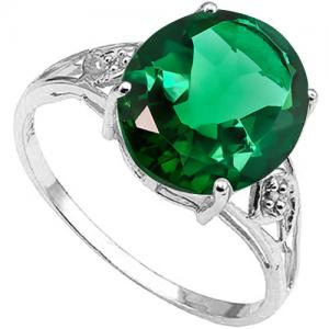 4.00 CT RUSSIAN EMERALD & DIAMOND 10KT SOLID GOLD RING