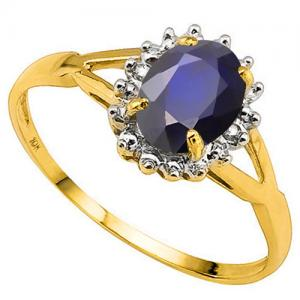 4/5 CT DIFFUSION GENUINE SAPPHIRE & DIAMOND 10KT SOLID GOLD RING