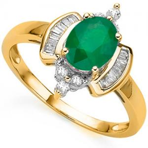 3/4 CT EMERALD & 1/3 CT DIAMOND 10KT SOLID GOLD RING