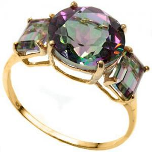 4.64 CT MYSTIC GEMSTONE 10KT SOLID GOLD RING