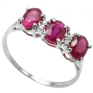 2.29 CT AFRICAN RUBY & DIAMOND (VS) 10KT SOLID GOLD RING