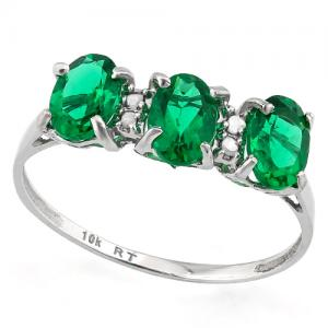 1.15 CT RUSSIAN EMERALD & DIAMOND 10KT SOLID GOLD RING