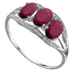 2.46 CT AFRICAN RUBY & DIAMOND 10KT SOLID GOLD RING