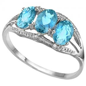 2.00 CT BABY SWISS BLUE TOPAZ & DIAMOND 10KT SOLID GOLD RING