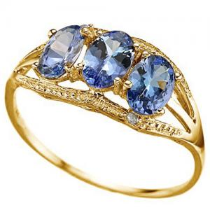 1.28 CT  TANZANITE & DIAMOND 10KT SOLID GOLD RING