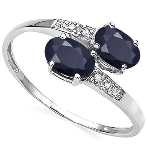 1.10 CT DIFFUSION GENUINE SAPPHIRE & DIAMOND 10KT SOLID GOLD RING