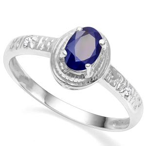2/3 CT DIFFUSION GENUINE SAPPHIRE & DIAMOND 10KT SOLID GOLD RING