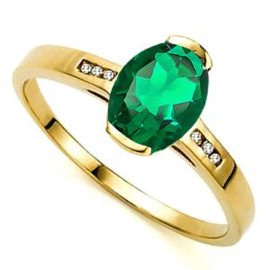 1.10 CT RUSSIAN EMERALD & DIAMOND 10KT SOLID GOLD RING