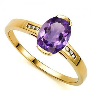 1.02 CT AMETHYST & DIAMOND (VS CLARITY) 14KT SOLID GOLD RING