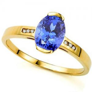 1.20 CT TANZANITE & DIAMOND 14KT SOLID GOLD RING