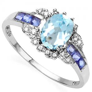 4/5 CT BABY SWISS BLUE TOPAZ & 1/5 CT TANZANITE 10KT SOLID GOLD RING