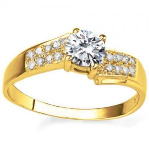 VS CLARITY ! 1/4 CT DIAMOND MOISSANITE & DIAMOND SOLITAIRE 14KT SOLID GOLD ENGAGEMENT RING
