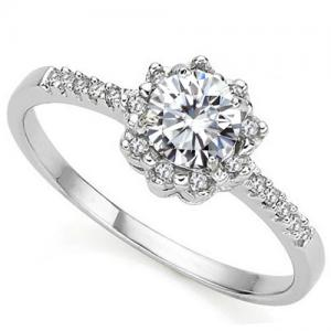 VVS CLARITY ! 1/3 CT DIAMOND MOISSANITE & DIAMOND SOLITAIRE 10KT SOLID GOLD ENGAGEMENT RING