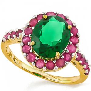 2.00 CT RUSSIAN EMERALD & 1.00 CT RUBY 10KT SOLID GOLD RING