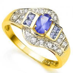 1/2 CT TANZANITE & DIAMOND 10KT SOLID GOLD RING
