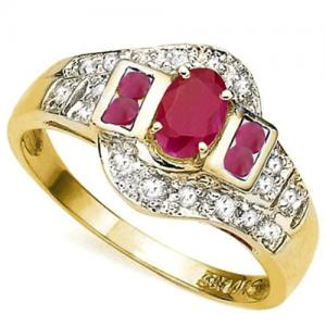 3/4 CT RUBY & DIAMOND 14KT SOLID GOLD RING