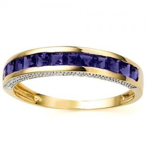 1/2 CT IOLITE 10KT SOLID GOLD BAND RING