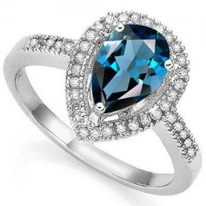 2.00 CT LONDON BLUE TOPAZ & 1/4 CT DIAMOND 14KT SOLID GOLD RING