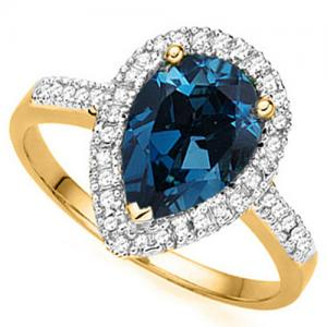 2.13 CT LONDON BLUE TOPAZ & 1/4 CT DIAMOND 14KT SOLID GOLD RING