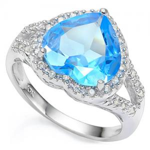 4.03 CT BABY SWISS BLUE TOPAZ & 1/5 CT DIAMOND (VS CLARITY) 10KT SOLID GOLD RING