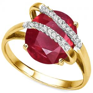 3.85 CT AFRICAN RUBY & 1/5 CT DIAMOND 10KT SOLID GOLD RING