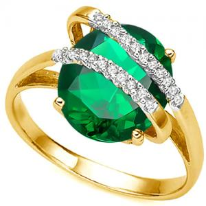 2.80 CT RUSSIAN EMERALD & DIAMOND (VS CLARITY) 14KT SOLID GOLD RING