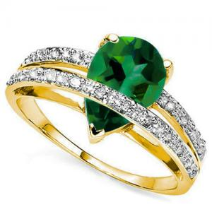 1.38 CT RUSSIAN EMERALD (VS) & DIAMOND 10KT SOLID GOLD RING