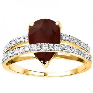 2.68 CT GENUINE RUBY & 1/5 CT DIAMOND 10KT SOLID GOLD RING