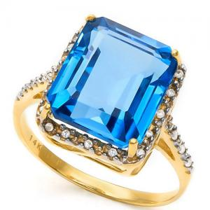 (IN STOCK NOW!!) 7.91 CT LONDON BLUE TOPAZ & DIAMOND (VS CLARITY) 14KT SOLID GOLD RING