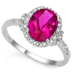 3.00 CT IMPERIAL PINK TOPAZ & DIAMOND 10KT SOLID GOLD RING