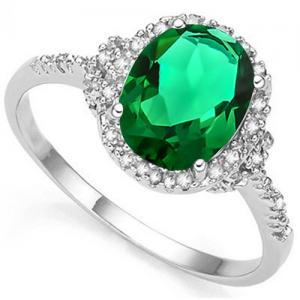 2.00 CT RUSSIAN EMERALD & DIAMOND 10KT SOLID GOLD RING