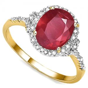3.72 CT AFRICAN RUBY & DIAMOND 10KT SOLID GOLD RING