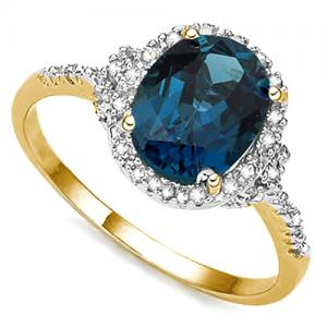 3.46 CT LONDON BLUE TOPAZ & DIAMOND 10KT SOLID GOLD RING