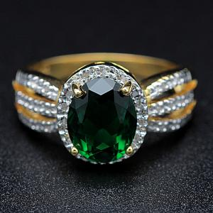 2.40 CT RUSSIAN EMERALD & 1/5 CT DIAMOND 10KT SOLID GOLD RING