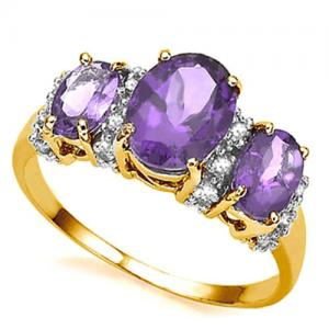 1.85 CT AMETHYST & DIAMOND 10KT SOLID GOLD RING