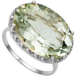 8.15 CT GREEN AMETHYST & DIAMOND 10KT SOLID GOLD RING