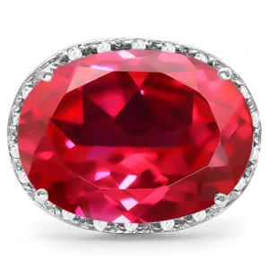 16.15 CT RUSSIAN RUBY(VS) & 1/5 CT DIAMOND 10KT SOLID GOLD RING