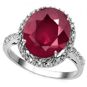 5.70 CT AFRICAN RUBY & 1/5 CT DIAMOND 14KT SOLID GOLD RING (TOP QUALITY)