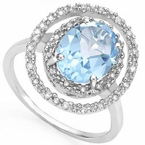 2.47 CT BABY SWISS BLUE TOPAZ & 1/5 CT DIAMOND 14KT SOLID GOLD RING