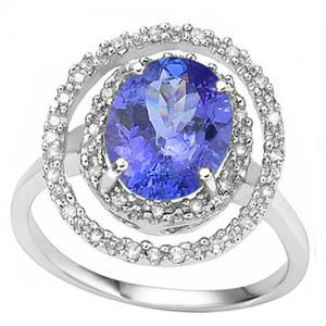 1.88 CT TANZANITE & 1/5 CT DIAMOND  (VS CLARITY) 14KT SOLID GOLD RING