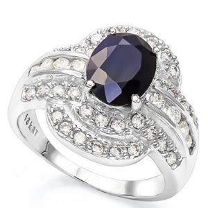 2.16 CT DIFFUSION GENUINE SAPPHIRE & 4/5 CT DIAMOND (VS CLARITY) 18KT SOLID GOLD RING