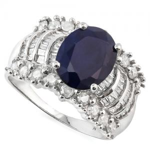 3.00 CT DIFFUSION GENUINE SAPPHIRE & 1.00 CT DIAMOND (VS CLARITY) 10KT SOLID GOLD RING