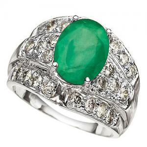 2.40 CT EMERALD & 3/4 CT DIAMOND (VS CLARITY) 14KT SOLID GOLD RING