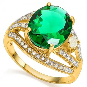 4.00 CT RUSSIAN EMERALD & 2/5 CT DIAMOND (VS CLARITY) 14KT SOLID GOLD RING