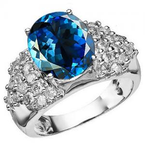 6.69 CT LONDON BLUE TOPAZ & 1.00 CT DIAMOND 10KT SOLID GOLD RING