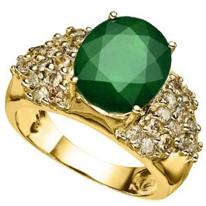3.14 CT EMERALD & 1.05 CT CHOCOLATE DIAMOND 10KT SOLID GOLD RING