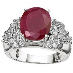 5.84 CT AFRICAN RUBY & 1.00 CT DIAMOND (VS CLARITY) 14KT SOLID GOLD RING