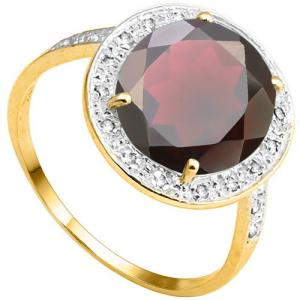 4.09 CT GARNET & DIAMOND 10KT SOLID GOLD RING