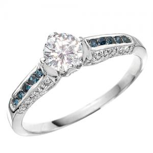 VS CLARITY ! 1/2 CT DIAMOND MOISSANITE & 1/4 CT DIAMOND SOLITAIRE 14KT SOLID GOLD ENGAGEMENT RING