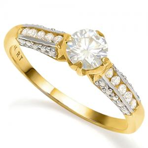 1/2 CT DIAMOND MOISSANITE & 1/3 CT LAB CREATED DIAMOND SOLITAIRE 14KT SOLID GOLD ENGAGEMENT RING (TOP QUALITY)